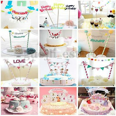Cake Bunting Banner Kit Topper Picks Wedding Birthday Party Flags Decoration