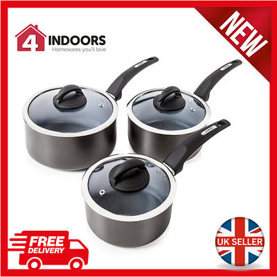 Tower T80302 Cerasure 3 Piece Ceramic Coated Saucepan Set - Graphite Grey -NEW!!