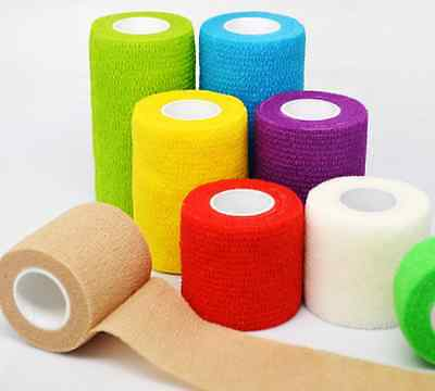 """24 Rolls/lot Self Adhesive Non Woven Cohesive Bandage 2""""X5 Yards Mix Color"""