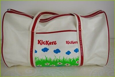 VINTAGE, sports bag leatherette Ecru and Red KICKERS BE