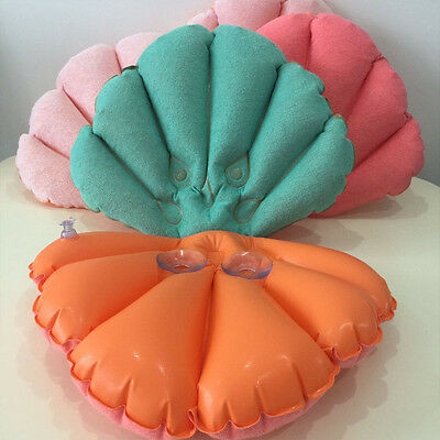 Flower Inflatable Bath Pillow Shell Back Neck Comfort Cushion with 2Suction Cups
