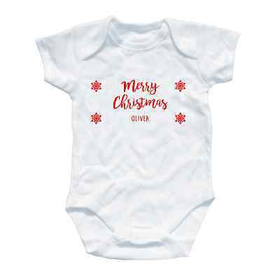 Personalised Merry Chirstmas Baby Grow Gift First All One Toddler Onesie Santa