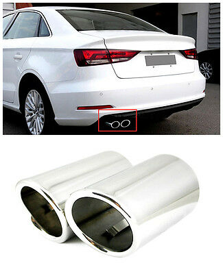 For Audi A3 8V 2008-2015 Stainless Chrome Tail End Pipe Exhaust Muffler Tip 2pcs