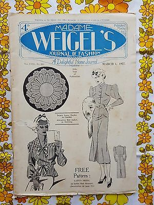 MADAME WEIGEL'S JOURNAL OF FASHION March 1, 1937 vintage pattern magazine