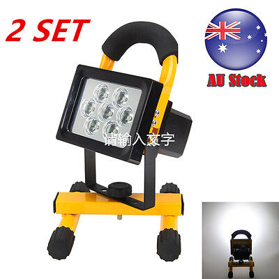 2SET Portable 50W 3000LM 7x LED Rechargeable Flood Spot Light Work Camping Lamp