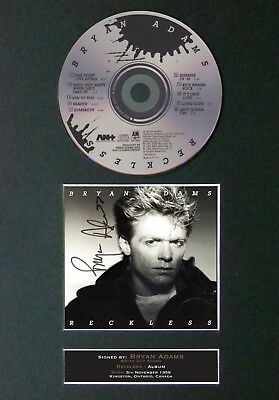 BRYAN ADAMS Reckless Signed CD Mounted Autograph Photo Reproduction Print 72