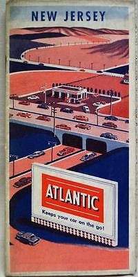 Atlantic Refining Service Station New Jersey Highway Road Map 1955 Vintage