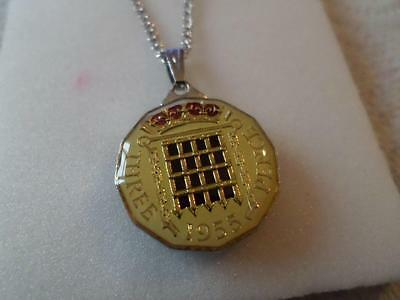 Vintage Enamelled Three Pence Coin 1955 Pendant & Necklace. Great Birthday Gift