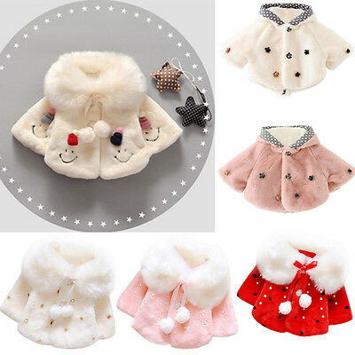 Newborn Baby Girls Fur Winter Warm Coat Cloak Jacket Thick Clothes Outerwear Lot