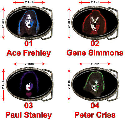 """KISS Rock Band Members Ace Frehley Gene Simmons Paul Peter Army 3x2"""" Belt Buckle"""