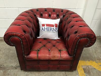 *STUNNING Vintage 1970s Leather Chesterfield Club Chair L��������K*
