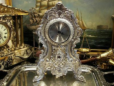 Large Silver Plate  Quartz Mantel Desk Clock Ornate Vintage Antique Gift