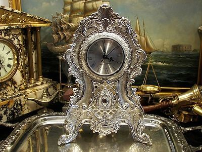 Large Silver Plate  Quartz Mantle Clock Ornate Vintage Antique Gift