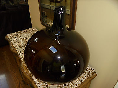 Antique Early Hand Blown Brown Amber Glass French Demijohn ca 1820 1 of 2
