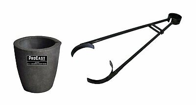 """#3 - 4 Kg Clay Graphite Foundry Crucible Kit w/ 26"""" Foundry Crucible Flask Tongs"""