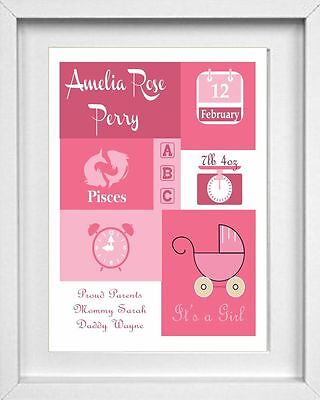 BABY NAME | Personalised Nursery Picture | Christening Gift | FREE POST |(NP122)