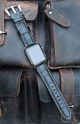 Black Leather Watch Strap Band For Apple Watch 42mm Series 1 2 3 Silver Fixings