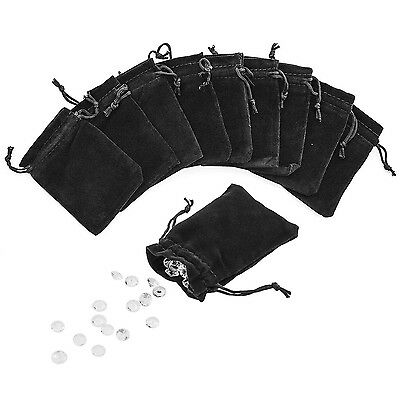"3"" x 4"" Black Velveteen Sack Pouch Bags for Jewelry Gifts Event Supplies (50 ..."
