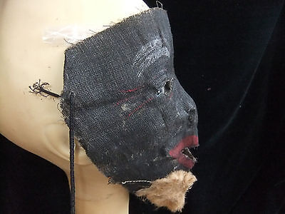 Primative Antique Black - Negro-Americana Gauze/ Burlap Halloween Mask