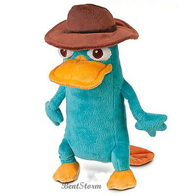 "10"" Disney Store Phineas & Ferb AGENT P Perry the Platypus Plush Bean Bag NEW"
