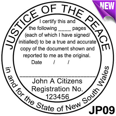 JP09 JUSTICE OF THE PEACE NSW Custom Flash Stamp Pre & Self Inking Refillable