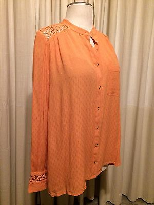 9af44253f0d0d NWT Free People Peach Orange Long Sleeve Crochet Button Down Blouse Top  Small S