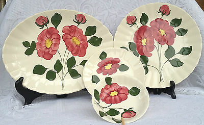 12 Pc Blue Ridge Southern Potteries Inc. Handpainted Red Flower Dinner Set (400)