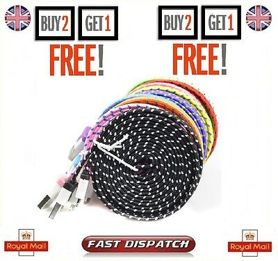1M 2M 3M Strong Flat Braided Fabric Micro USB Data Charger Cable for Samsung