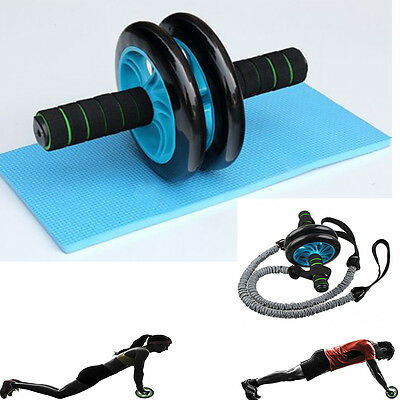 Double Dual AB Roll wheel Abs Abdominal Gym Roller Workout Exercise Fitness Blue