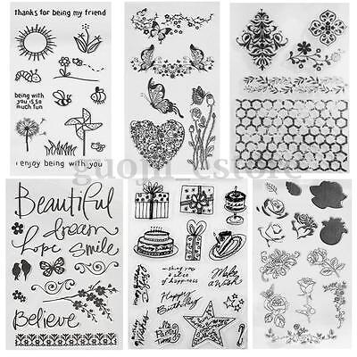 Butterfly Flower Silicone Transparent Clear Stamp DIY Scrapbooking Album Seal