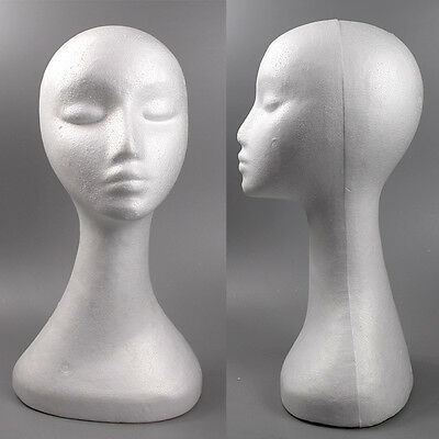 White Swan Polystyrene Female Mannequin Head Retail Display Stand 50cm