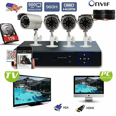 Security Systems - 4CH Channel 960H HDMI DVR & 4 Outdoor 900TVL IR-CUT Camera E1