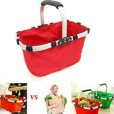 Collapsible Foldable Red Picnic insulated Food Fruit tote basket Bag w/ handle
