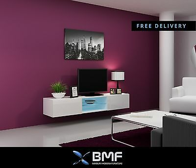 Bmf Vigo Glass Mounted Tv Stand Floating Wall Mountable Unit High Gloss Fronts