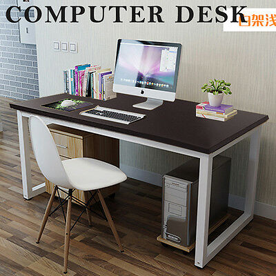 New Home Office Desk Computer Workstation Console Table Mdf Wooden Metal Frame