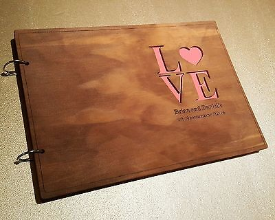 Personalized Wooden Wedding Guest Book, Engagement, A4 size, stained, varnished
