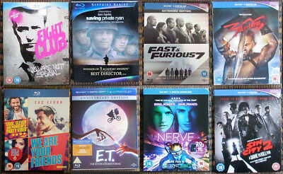 8x Blu-ray slip covers ONLY E.T. Prometheus, 300, Fight Club, Fast and Furious 7