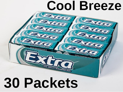 30 Packets Wrigleys Extra Chewing Gum Cool Breeze Sugar Free £10.49! FREE POST