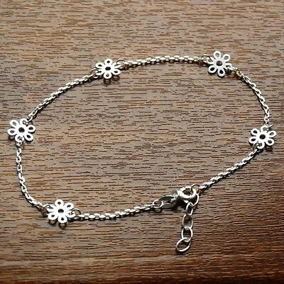 "Solid 925 Sterling Silver 9""-10"" Adjustable Daisy Chain Anklet - For Ankle/Foot"