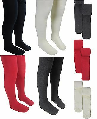 2 Pairs of Ex M&S New Kids/Girls Soft Cotton School Tights Excellent Quality