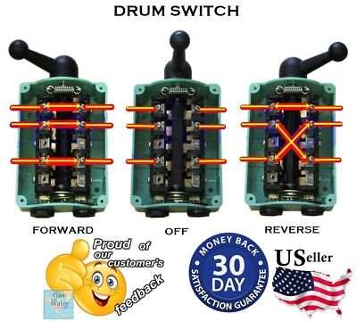 Drum Switch Forward/Off/Reverse Motor Control RainProof 60A Reversing Guaranteed