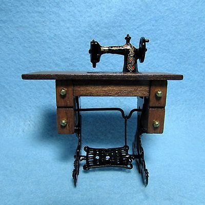 Dollhouse Miniature Wood Sewing Table with Pedal - CLA07780