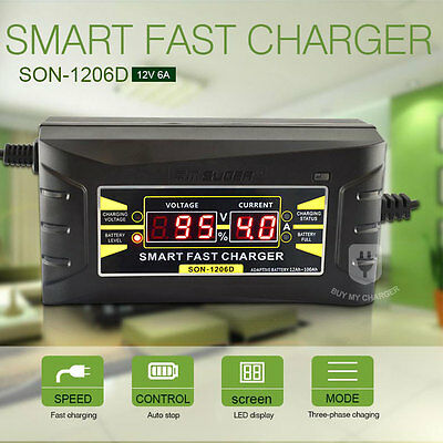 Souer Genuine LCD Display 12V 6A Smart Car Battery Charger UK Plug&110~240V