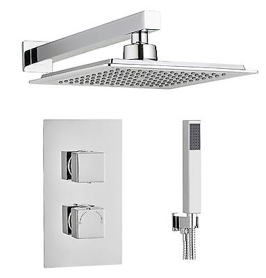 Square Concealed Thermostatic Shower Mixer Valve 2 Way Overhead and Handheld kit
