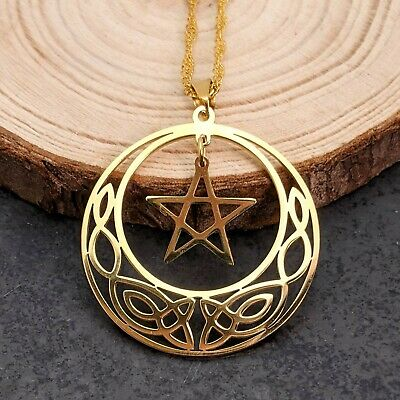 Gold Plated Tree Of Life Pentagram Wicca Pendant Necklace