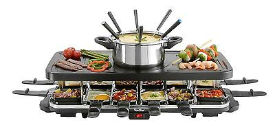 VonShef Raclette Party Grill with 6 Fork Fondue Set & 12 Raclette Pans