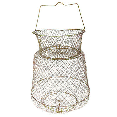 Gold Tone Steel Wire Foldable Fish Cage Fishing Keep Net 30cm Dia