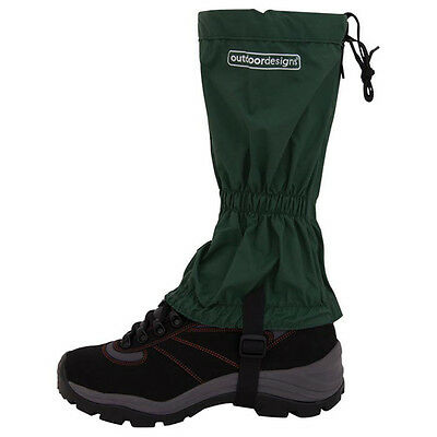 NEW Outdoor Designs Tundra Gaiters Large Green w/Rear Zip & Webbing Boot Strap