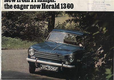 Old 1960's Triumph Herald 13/60 Car automobile Advertising Brochure