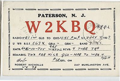 Old Vintage 1935 QSL Radio Card W2KBQ Paterson New Jersey